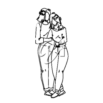Mother And Daughter Embracing Together Black Line Pencil Drawing Vector. Mother And Daughter Hugging With Love, Family Harmony And Motherhood. Characters Mommy And Girl Relationship Illustration