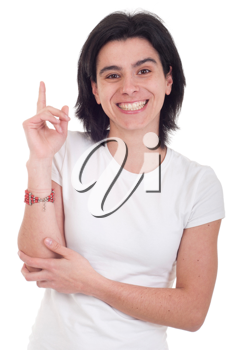Royalty Free Photo of a Woman Holding Her Hand Up