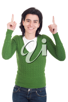 Royalty Free Photo of a Woman Pointing Up