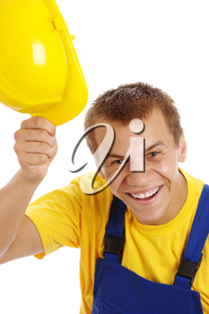 Royalty Free Photo of a Man Lifting Off His Hardhat
