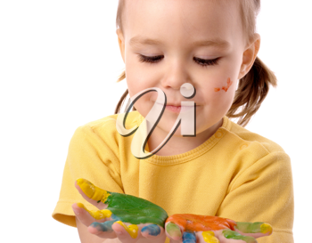 Royalty Free Photo of a Girl With Painted Hands