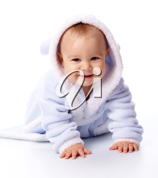 Royalty Free Photo of a Child in a Blue Bathrobe