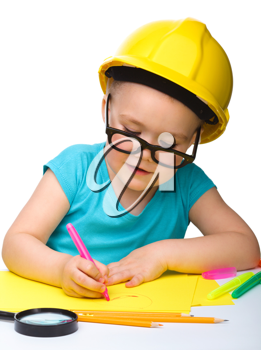 Royalty Free Photo of a Little Girl Wearing a Hardhat and Glasses