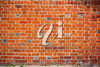 Old brick wall with a strip of ground below, background image