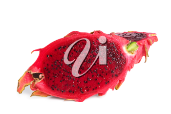 Slice of fresh and raw dragon fruit isolated on white