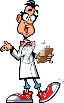 Royalty Free Clipart Image of a Scientist of Professor