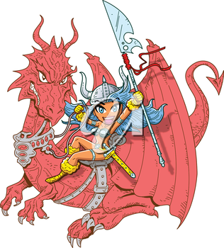 Royalty Free Clipart Image of a Dragon Rider