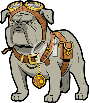 Royalty Free Clipart Image of a Steampunk Bulldog With Goggles