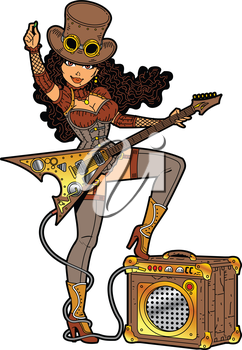 Royalty Free Clipart Image of a Steampunk Guitar Player