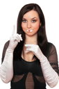 Royalty Free Photo of a Woman With White Gloves and Painted Lips