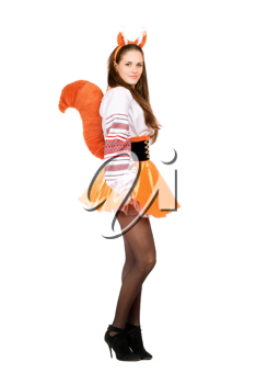 Royalty Free Photo of a Woman Dressed in a Funny Squirrel Costume