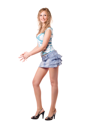 Royalty Free Photo of a Girl in a Denim Skirt