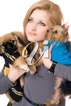 Royalty Free Photo of a Woman and Dogs