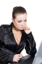 Royalty Free Photo of a Woman at a Laptop
