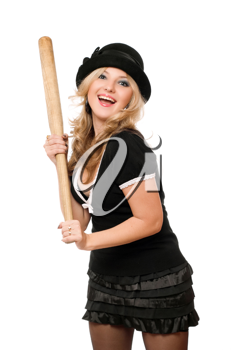 Portrait of cheerful girl with a bat in their hands