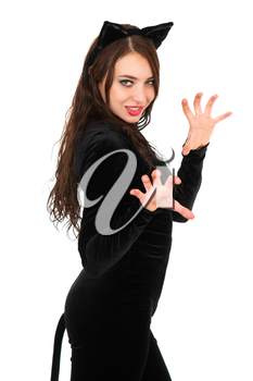 Attractive young brunette dressed in black catsuit. Isolated on white