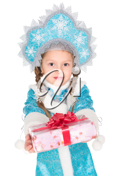 Little girl in traditional christmas costume with a gift box. Isolated on white