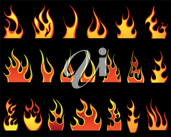 Set of different fire patterns for design use