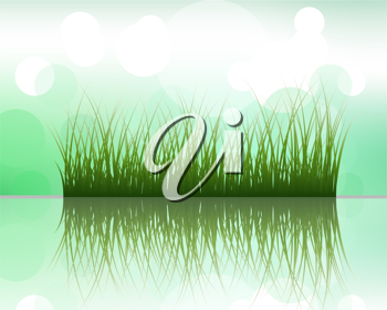 Vector grass silhouettes on blurred background with reflection in water . All objects are separated.