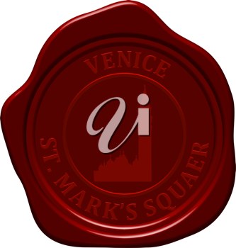 St. Mark's square.  Sealing wax stamp for design use.