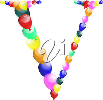Color balloon alphabets letter. EPS 10 vector illustration with transparency.