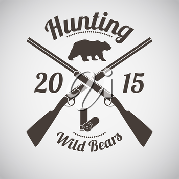 Hunting Vintage Emblem. Cross Hunting Gun With Ammo and Wild Bear Silhouette. Suitable for Advertising, Hunt Equipment, Club And Other Use. Dark Brown Retro Style.  Vector Illustration.