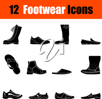 Set of twelve man's footwear black icons. Vector illustration.