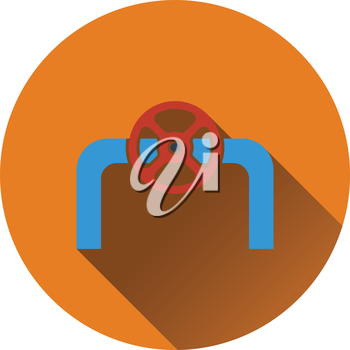 Icon of Pipe with valve. Flat design. Vector illustration.