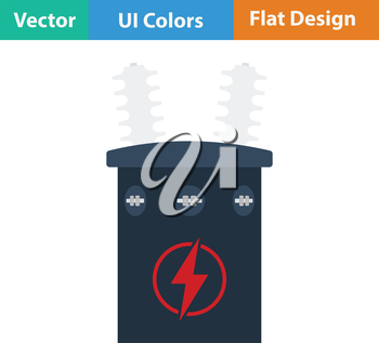 Electric transformer icon. Flat design. Vector illustration.