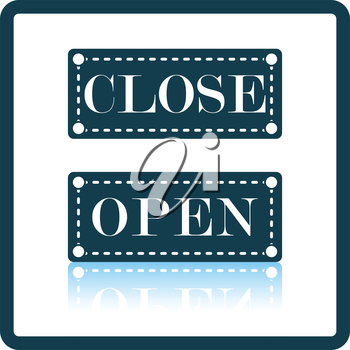 Shop door open and closed icon. Shadow reflection design. Vector illustration.