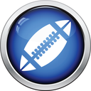 Icon of American football ball. Glossy button design. Vector illustration.
