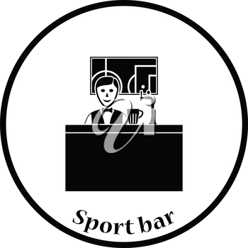 Sport bar stand with barman behind it and football translation on tv icon. Thin circle design. Vector illustration.
