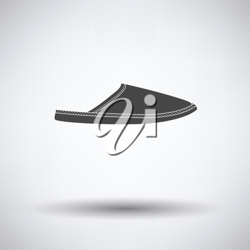 Man home slipper icon on gray background with round shadow. Vector illustration.