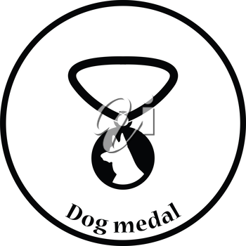Dog medal icon. Thin circle design. Vector illustration.