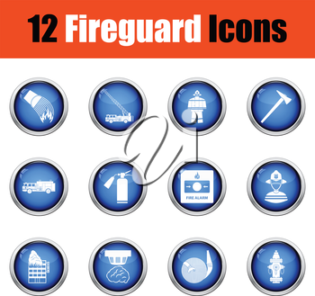 Set of fire service icons.  Glossy button design. Vector illustration.