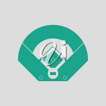 Baseball field aerial view icon. Gray background with green. Vector illustration.