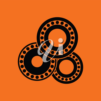 Bearing icon. Orange background with black. Vector illustration.