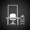 Barbershop icon. Black background with white. Vector illustration.
