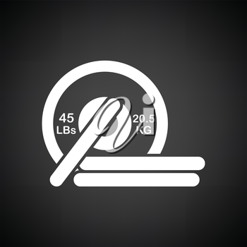 Barbell disks icon. Black background with white. Vector illustration.