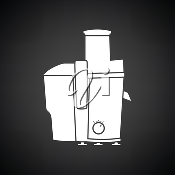 Juicer machine icon. Black background with white. Vector illustration.