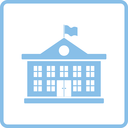 School building icon. Blue frame design. Vector illustration.