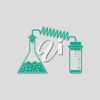 Icon of chemistry reaction with two flask. Gray background with green. Vector illustration.