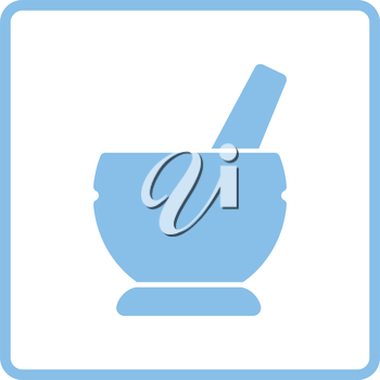 Mortar and pestel icon. Blue frame design. Vector illustration.