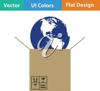 Planet in box. Logistic concept icon. Vector illustration.