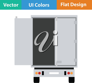 Truck trailer rear view icon. Flat design. Vector illustration.