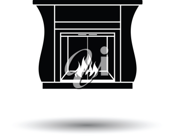 Fireplace with doors icon. White background with shadow design. Vector illustration.
