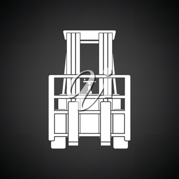 Warehouse forklift icon. Black background with white. Vector illustration.