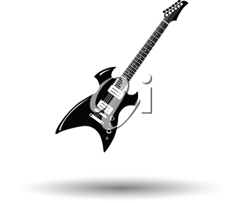 Electric guitar icon. White background with shadow design. Vector illustration.