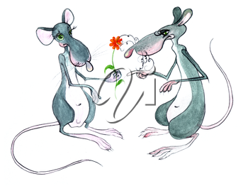 Royalty Free Clipart Image of Two Rats