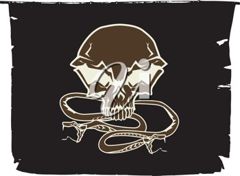 Royalty Free Clipart Image of a Skull and Snakes